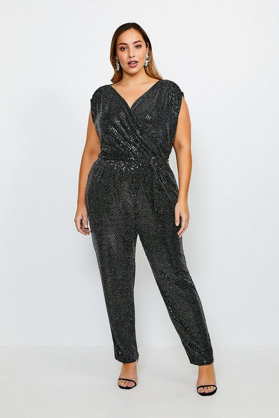 Black Curve Sequin Belted Jersey Jumpsuit