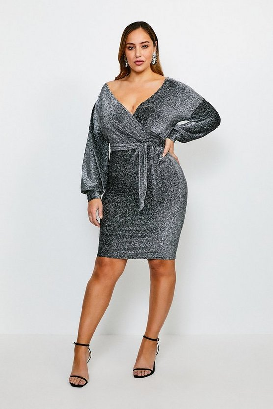 Silver Curve Glitter Off The Shoulder Jersey Dress
