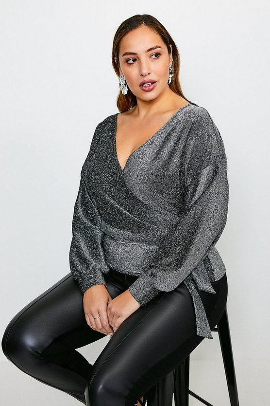 Silver Curve Glitter Off The Shoulder Jersey Top