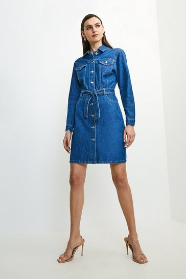 Indigo Western Style Denim Dress
