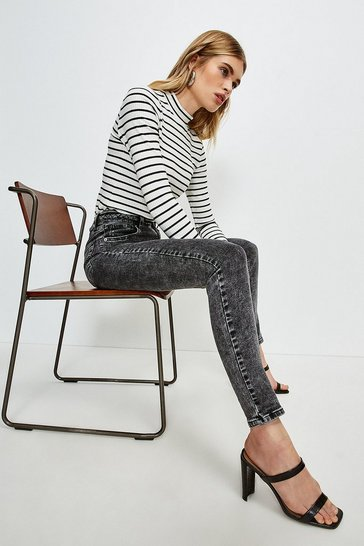 Acid wash black Plait Waistband Skinny Jean
