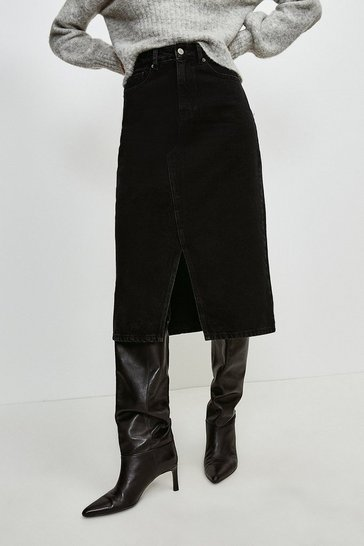 Black Split Seam Denim Midi Skirt