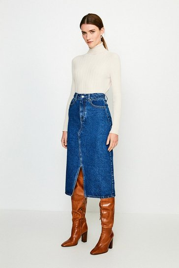 Indigo Split Seam Denim Midi Skirt