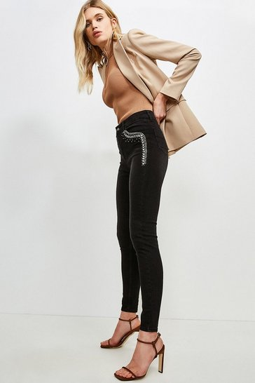 Black Chain Pocket Skinny Jean