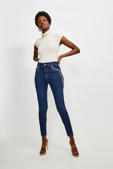 Indigo Chain Pocket Skinny Jean