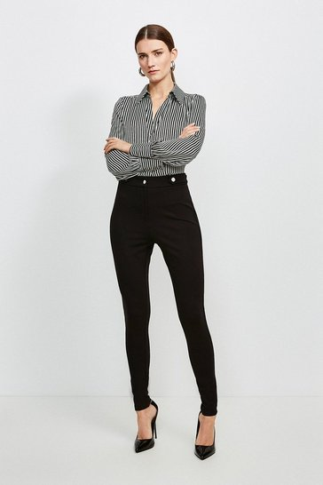 Black Rivet Ponte Slim Trousers