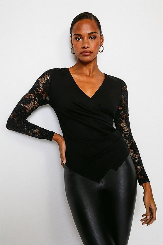 Black Lace Sleeve Wrap Ponte Top