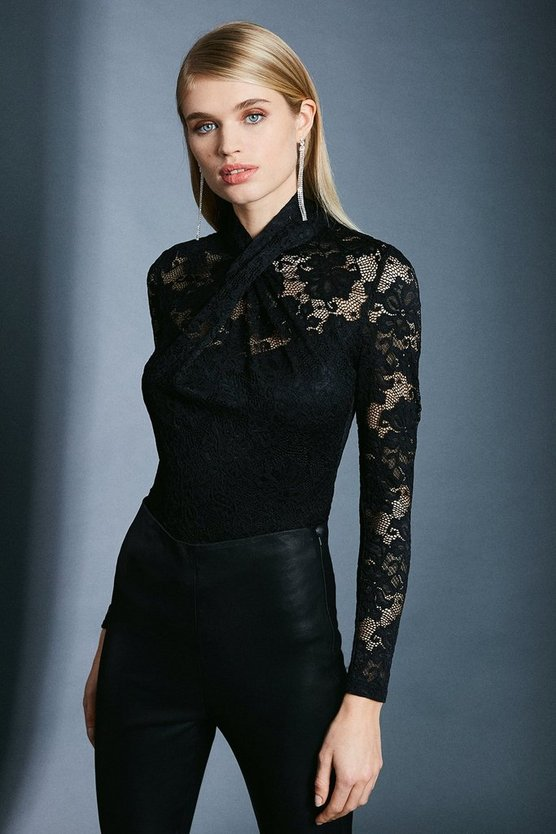 Black Twist Neck Stretch Lace Jersey Top