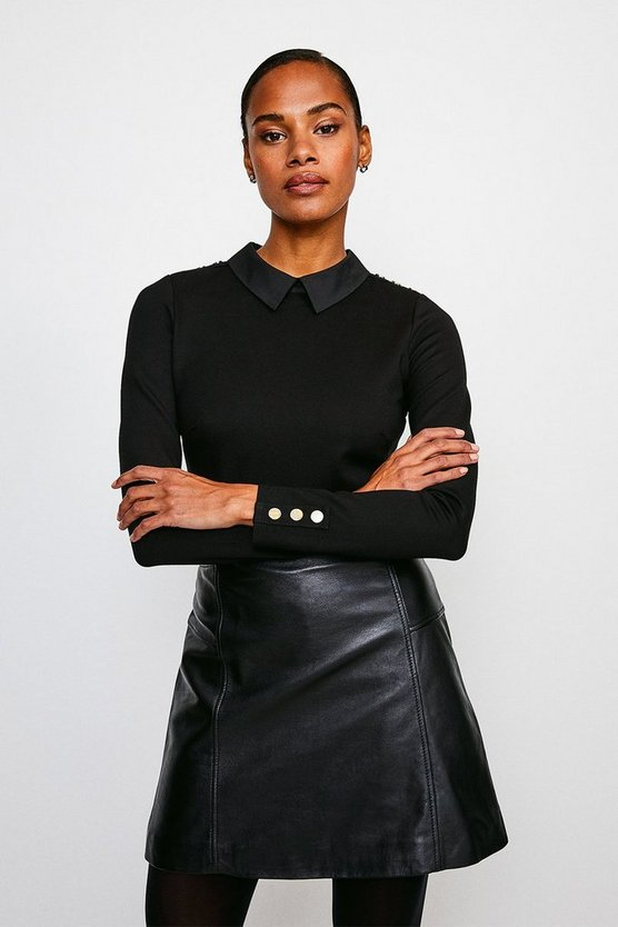 Black Rivet Shoulder Collar Ponte Top