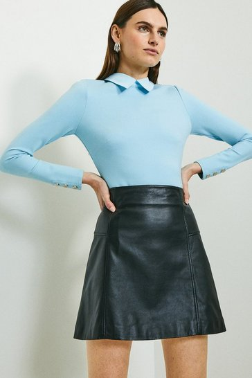 Blue Rivet Shoulder Collar Ponte Top