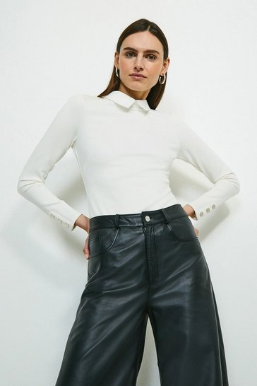 Ivory Rivet Shoulder Collar Ponte Top