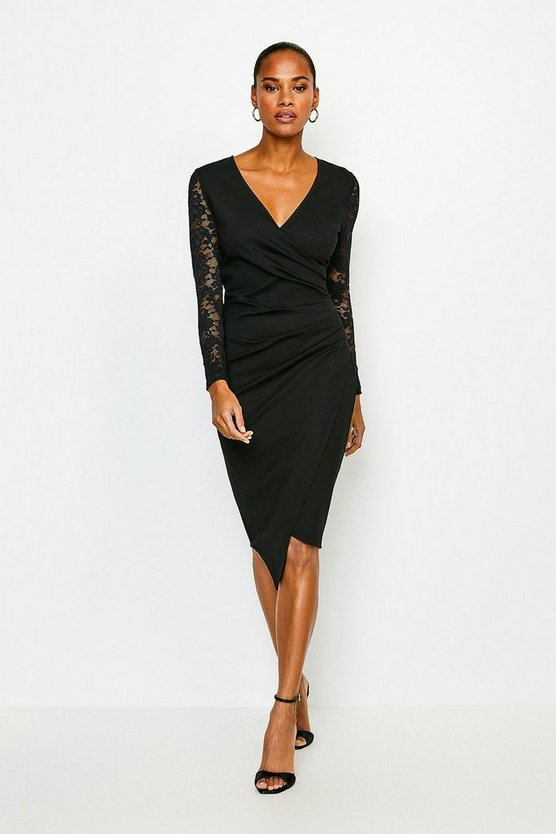 Black Lace Sleeve Wrap Ponte Dress