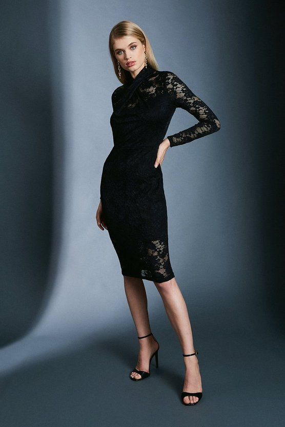 Black Twist Neck Stretch Lace Jersey Dress