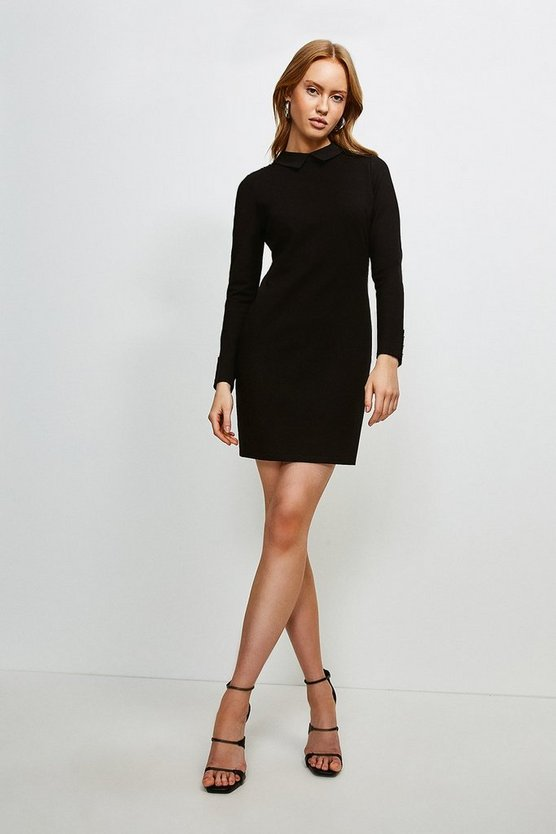 Black Rivet Shoulder Collar Ponte Dress