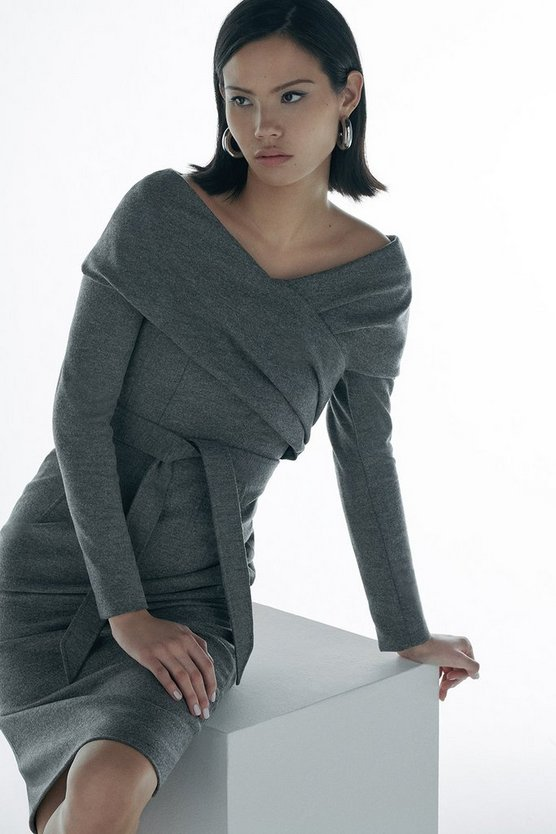 Grey Black Label Italian Wool Jersey Dress