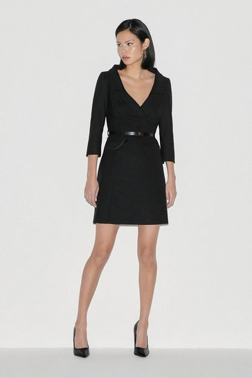 Black Italian Stretch Wool Collared Dress