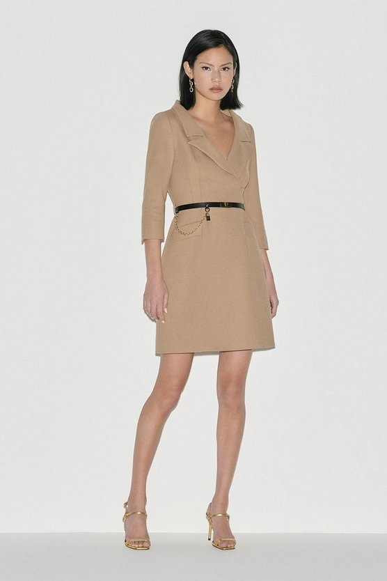 Camel Black Label Italian Stretch Wool Collared Dress