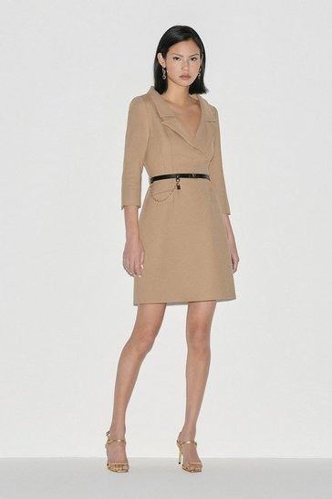 Camel Italian Stretch Wool Collared Dress