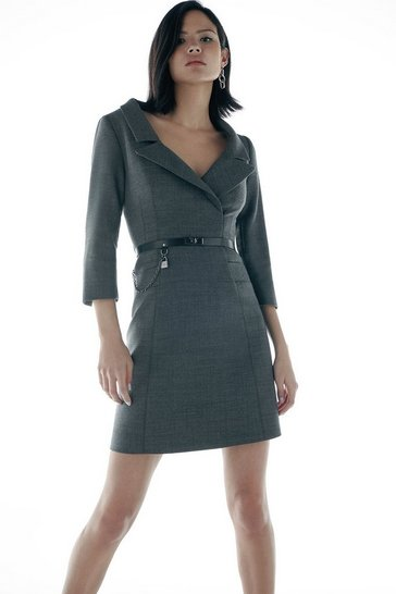 Grey Italian Stretch Wool Collared Dress