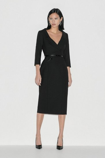 Black Italian Stretch Wool Collared Pencil Dress