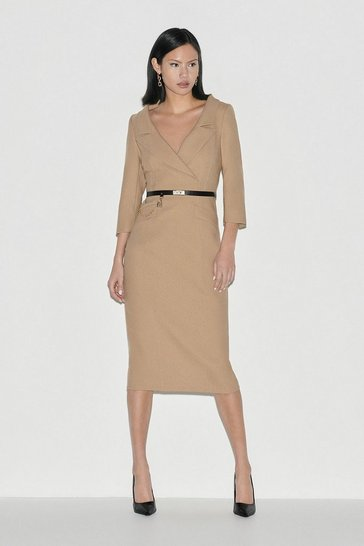Camel Italian Stretch Wool Collared Pencil Dress