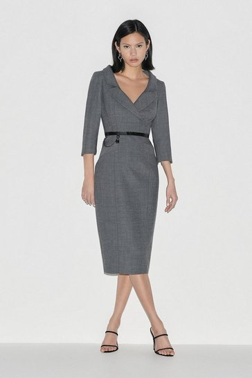 Grey Italian Stretch Wool Collared Pencil Dress
