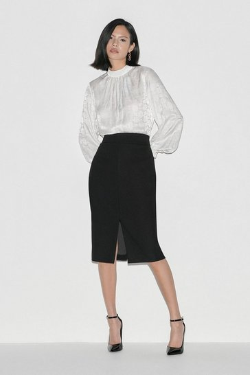 Black Italian Stretch Wool Skirt