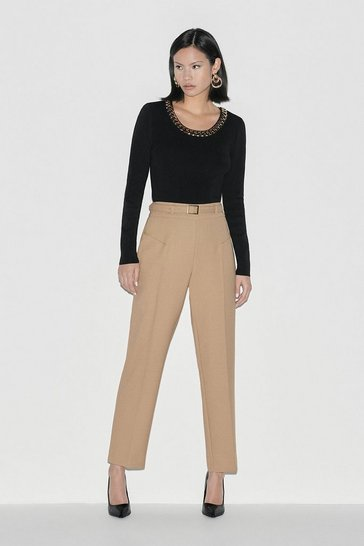 Camel Italian Stretch Wool Trouser