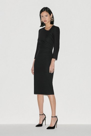 Black Italian Stretch Wool Tuck Dress