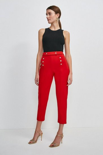 Red Italian Compact Milano Jersey Button Trouser