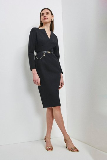 Black Label Italian Compact Milano Jersey Dress