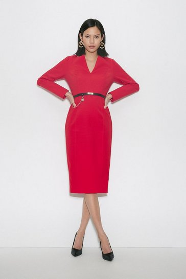 Red Black Label Italian Compact Milano Jersey Dress