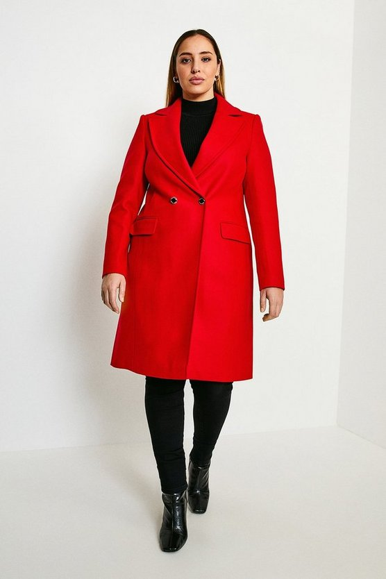 Red Curve Italian Wool Blend Double Breasted Coat