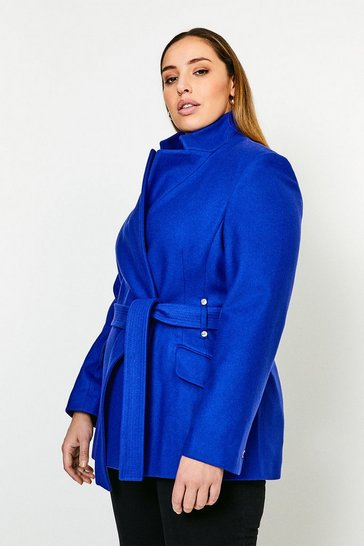 Cobalt Curve Italian Wool Blend Notch Short Coat