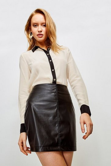 Black Faux Leather Seam Mini Skirt
