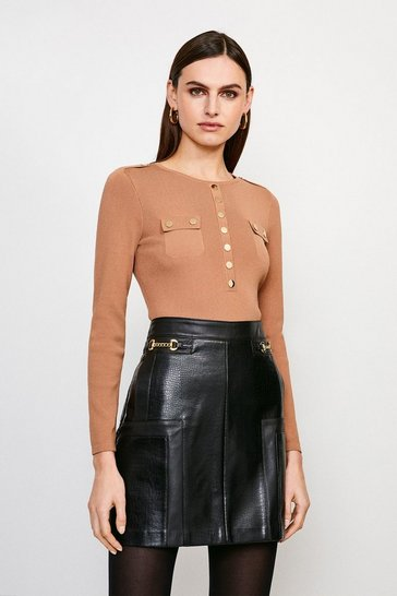 Black Crocodile Faux Leather Mini Skirt