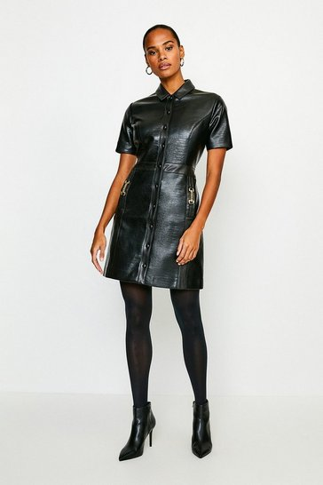 Black Crocodile Faux Leather Shirt Dress