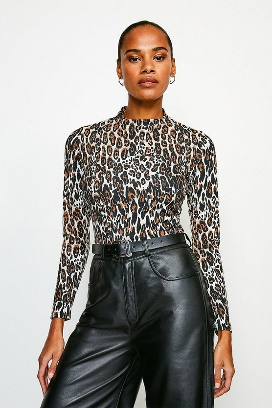 Natural Leopard Funnel Neck Jersey Top