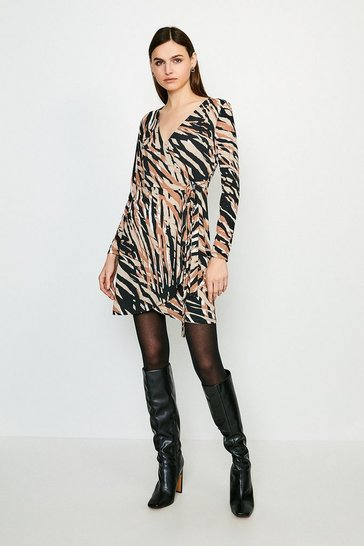 Natural Zebra Long Sleeve Jersey Wrap Dress