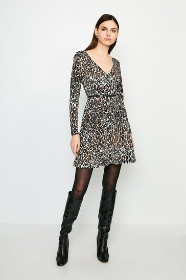 Natural Leopard Long Sleeve Jersey Wrap Dress