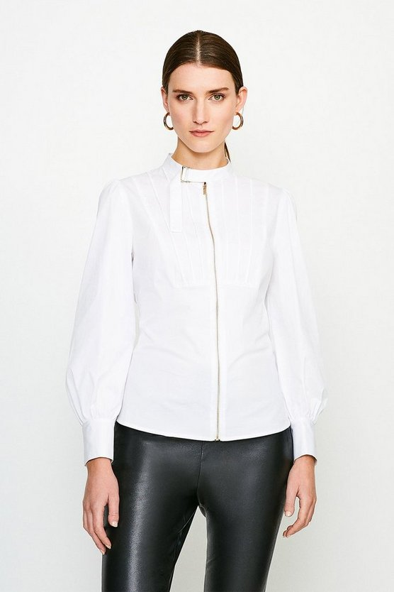 White Poplin Blouse With Pleat And D Ring Detail