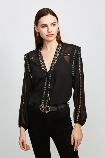 Black Eyelet Detail Tie Front Blouse