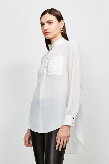 Ivory Quilted Pocket Detail Blouse