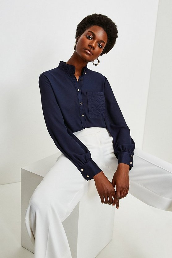 Navy Quilted Pocket Detail Blouse
