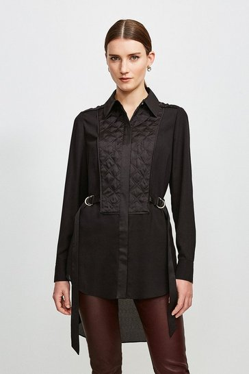 Black Quilted Tie Side Detail Blouse