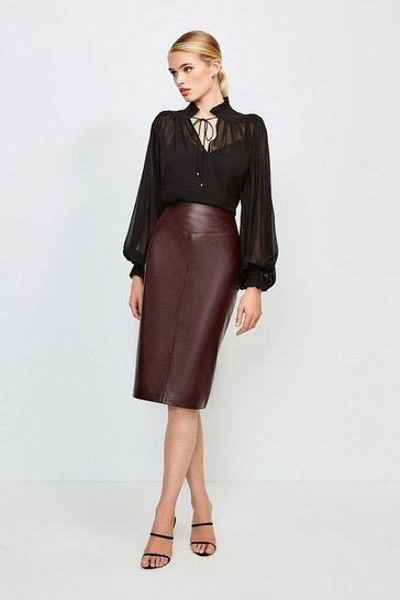 Fig Leather Pencil Skirt
