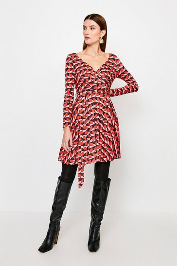 Geo Slinky Wrap Front Jersey Dress