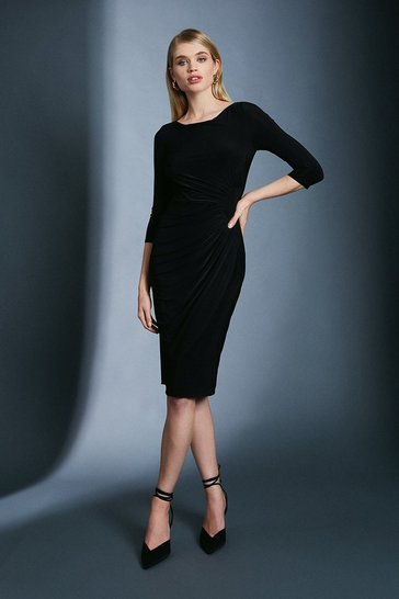 Black Slinky Rouched Midi Jersey Dress