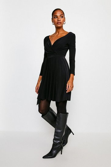 Black Slinky Wrap Front Jersey Dress