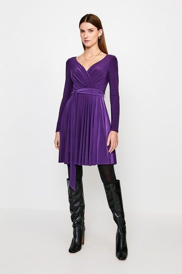 Fig Slinky Wrap Front Jersey Dress
